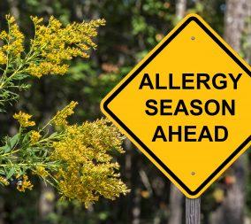 A Caution sign that says Allergy Season Ahead